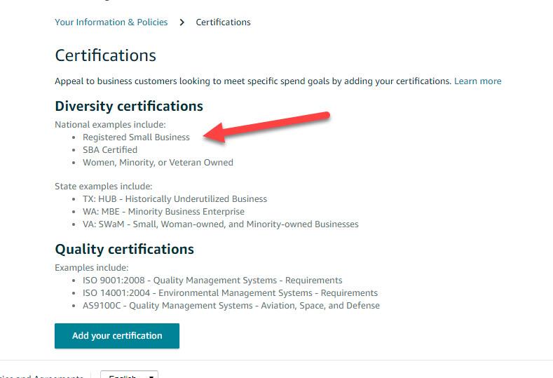 Amazon Certification Program: Small Business - General