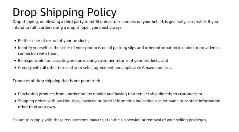 Is dropshipping forbidden on Amazon? - Selling on Amazon