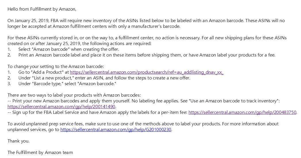 Amazon no longer accepting manufacturer barcode after Jan
