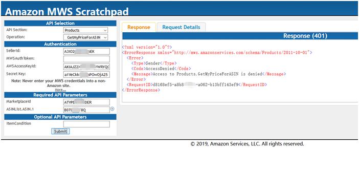 MWS Access Denied, Error 401 - Amazon Marketplace Web